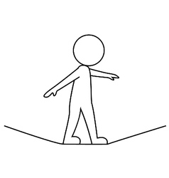 Businessman walking on a rope vector