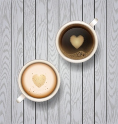 Coffee and latte on wooden background vector