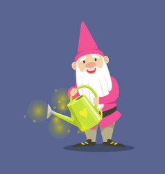 Cute dwarf gardener in pink clothes standing and vector