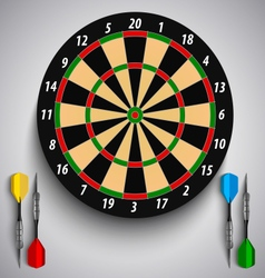 Dart boards with colored steel darts template vector