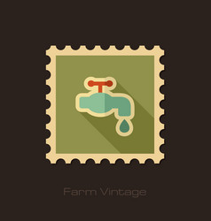 faucet retro flat stamp with long shadow vector image