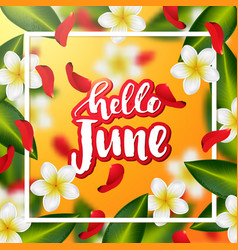 Hand drawn calligraphy hello june vector
