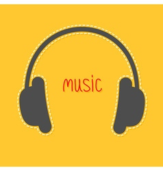 Headphones with dash line and red word Music Icon vector image