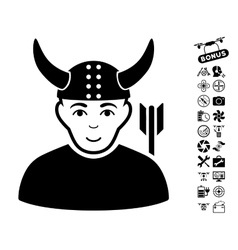 Horned warrior icon with air drone tools bonus vector