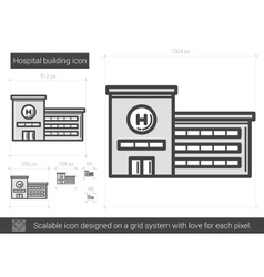 Hospital building line icon vector image vector image