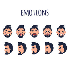 male facial emotions collection on white vector image vector image