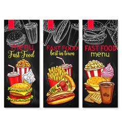 Menu price banners for fast food meals vector