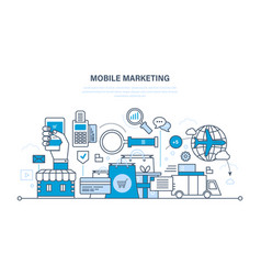 Mobile marketing analysis statistics shopping vector