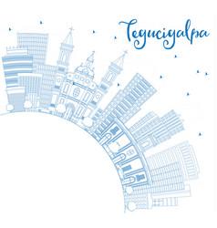 Outline tegucigalpa skyline with blue buildings vector