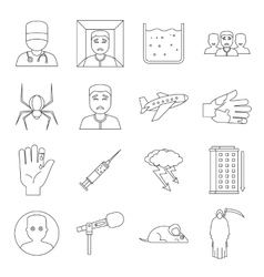 Phobia symbols icons set outline style vector