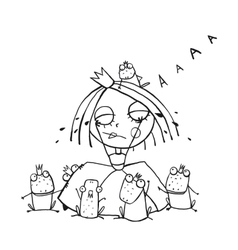 Princess crying and many prince frogs coloring vector