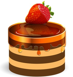 Red strawberry cake vector