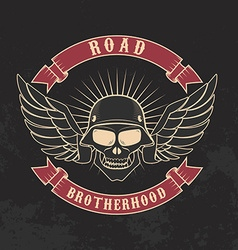 Road brotherhood skull in motorcycle helmet and vector