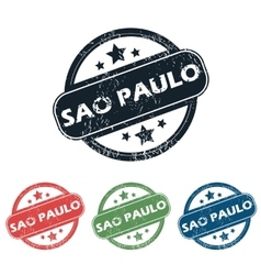 Round sao paulo stamp set vector