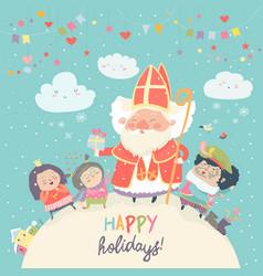 Saint nicholas with piet and happy kids vector