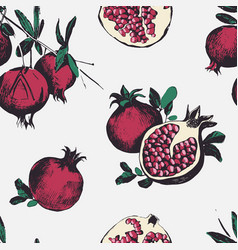 seamless pattern with pomegranates fruits on vector image vector image
