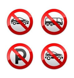 set prohibited signs - transport vector image