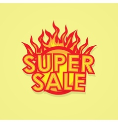 Sign sale offer with fire vector image vector image