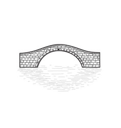 Small stone bridge sign isolated engraving retro vector