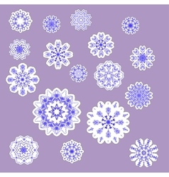 snowflake stickers set vector image vector image