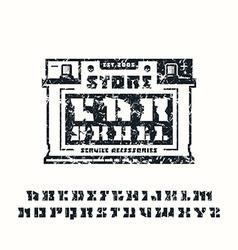 Stencil plate serif font and car service emblem vector