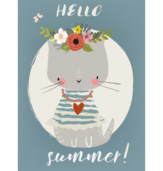 summer cute kitten vector image