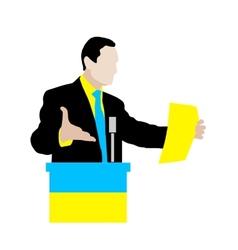 Ukrainian speaker delivers a speech at the podium vector