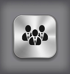 User group network icon - metal app button vector image