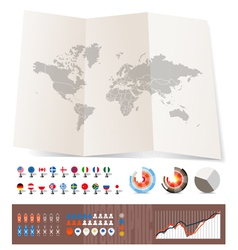 World map on old map and flags vector image vector image