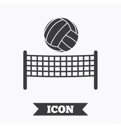 Volleyball net ball icon Beach sport symbol vector image