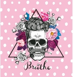 Fashion skull with the rose vector