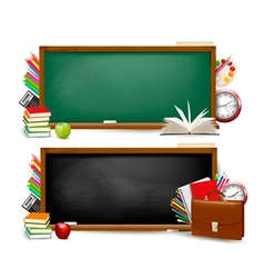 Back to school two banners with school supplies vector