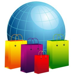 World globe with shopping bags vector image