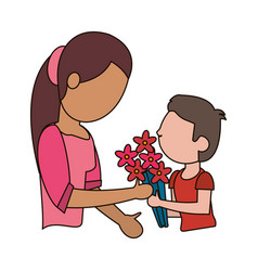 Son gift bouquet flower to mother vector