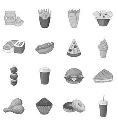 fast food icons set monochrome vector image