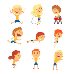 Cute smiling kids doing sports set activity kids vector