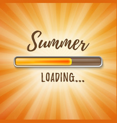 Summer loading bar orange background with sun rays vector