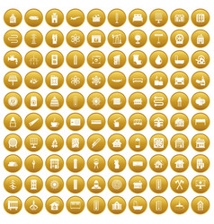 100 heating icons set gold vector