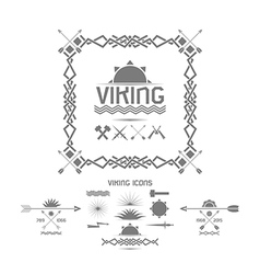 Viking icons design elements vector