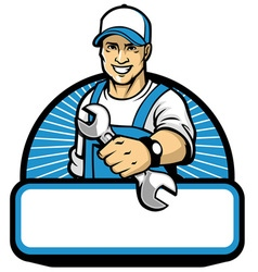 mechanic mascot with the wrench vector image