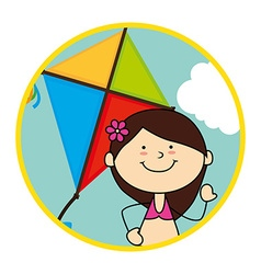 Child flying kite vector