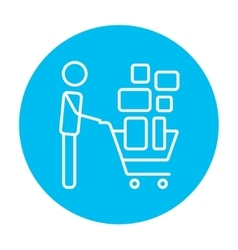 Man pushing shopping cart line icon vector