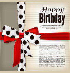 Happy birthday greeting card red bow and ribbon vector