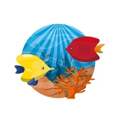 Coral and fish icon sea life design vector