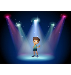 A boy acting at the stage with spotlights vector