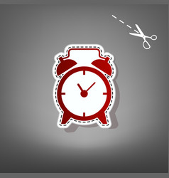 Alarm clock sign red icon with for vector
