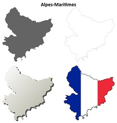 Alpes-maritimes provence outline map set vector