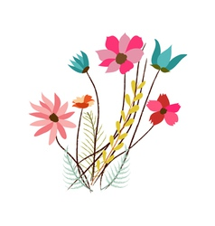 background with flowers in retro style vector image