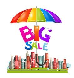 Big Sale Title with Colorful Parasol - Umbrella vector image vector image