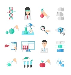 Biotechnology Flat Icons Set vector image vector image
